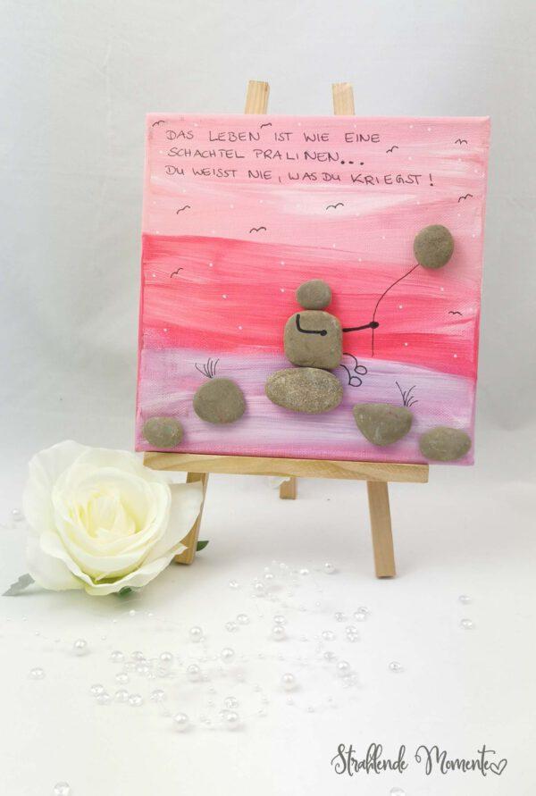 Leinwand, Steine, Spruch
