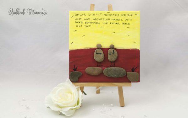 Leinwand, Steine, Spruch, Aufmunternde Worte, Geschenk, Freude